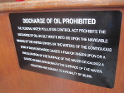 Discharge of Oil Prohibited Label